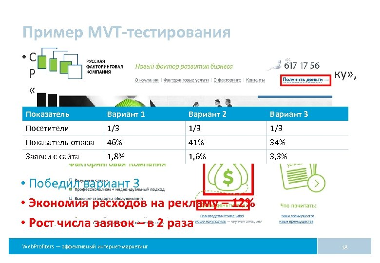 Пример MVT-тестирования • Сравнивалось расположение элементов и контент: Р, Руб. или $, «Получить деньги»