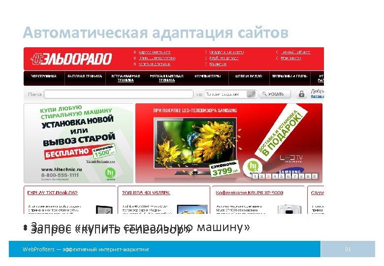 Автоматическая адаптация сайтов • Запрос «купить телевизор» машину» стиральную Web. Profiters — эффективный интернет-маркетинг