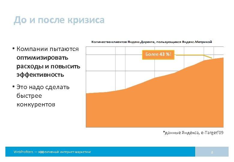 До и после кризиса • Компании пытаются оптимизировать расходы и повысить эффективность • Это