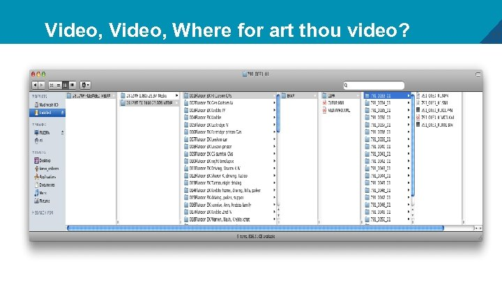 Video, Where for art thou video? 17