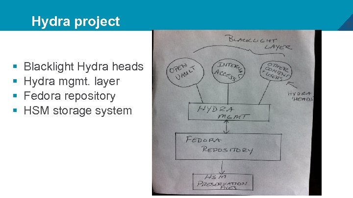 Hydra project § § Blacklight Hydra heads Hydra mgmt. layer Fedora repository HSM storage