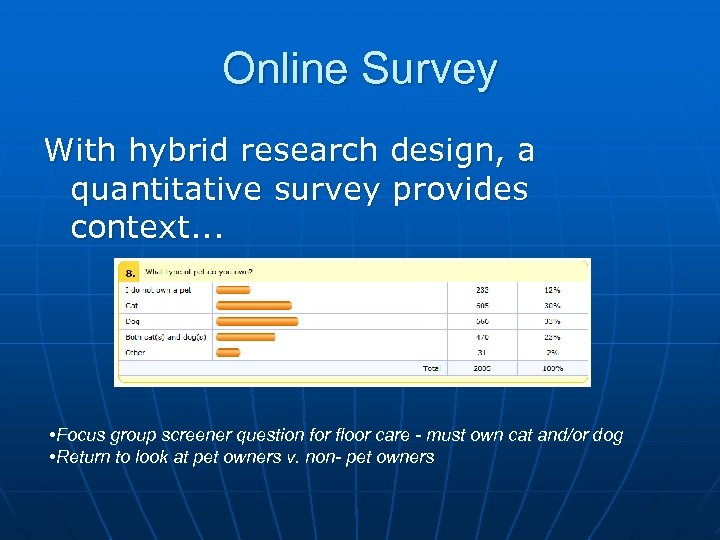 Online Survey With hybrid research design, a quantitative survey provides context. . . •