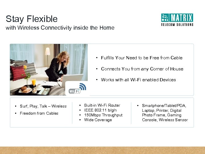 Stay Flexible with Wireless Connectivity inside the Home • Fulfills Your Need to be