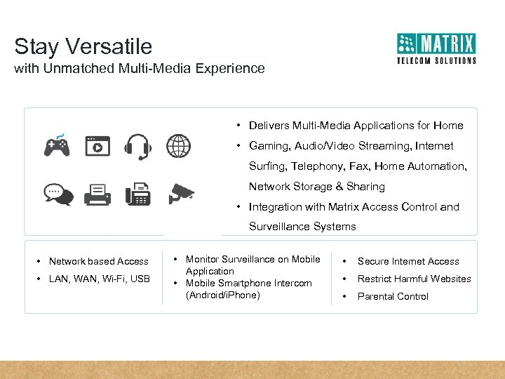 Stay Versatile with Unmatched Multi-Media Experience • Delivers Multi-Media Applications for Home • Gaming,