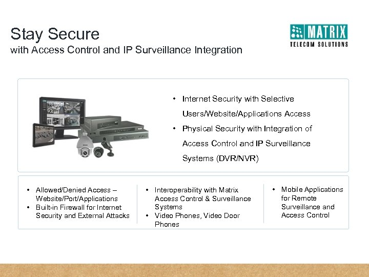 Stay Secure with Access Control and IP Surveillance Integration • Internet Security with Selective
