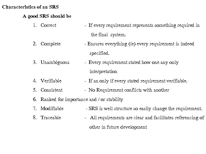 Characteristics of an SRS A good SRS should be 1. Correct - If every