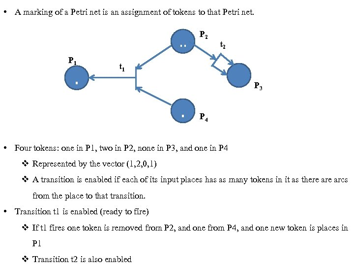 • A marking of a Petri net is an assignment of tokens to