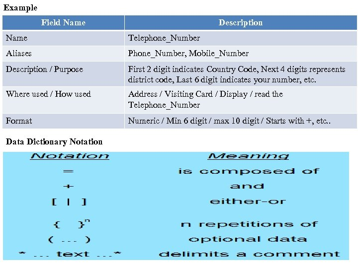 Example Field Name Description Name Telephone_Number Aliases Phone_Number, Mobile_Number Description / Purpose First 2