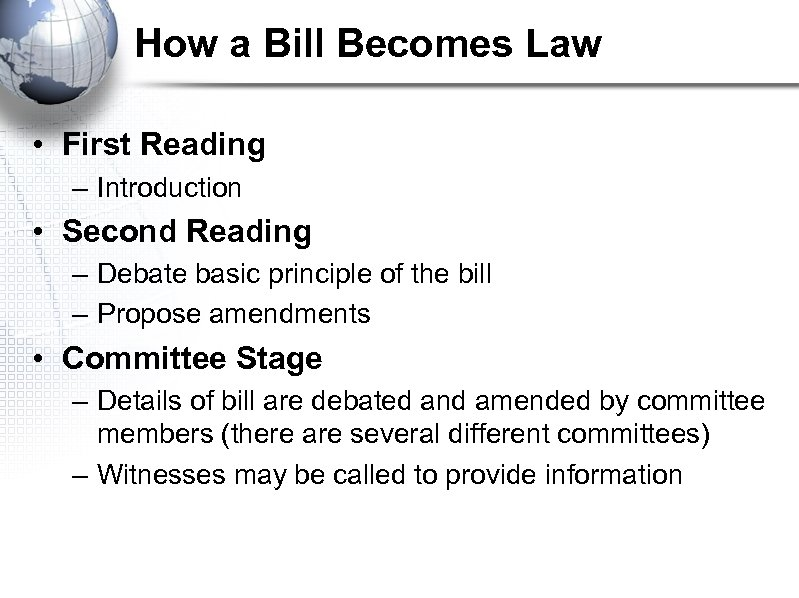 How a Bill Becomes Law • First Reading – Introduction • Second Reading –
