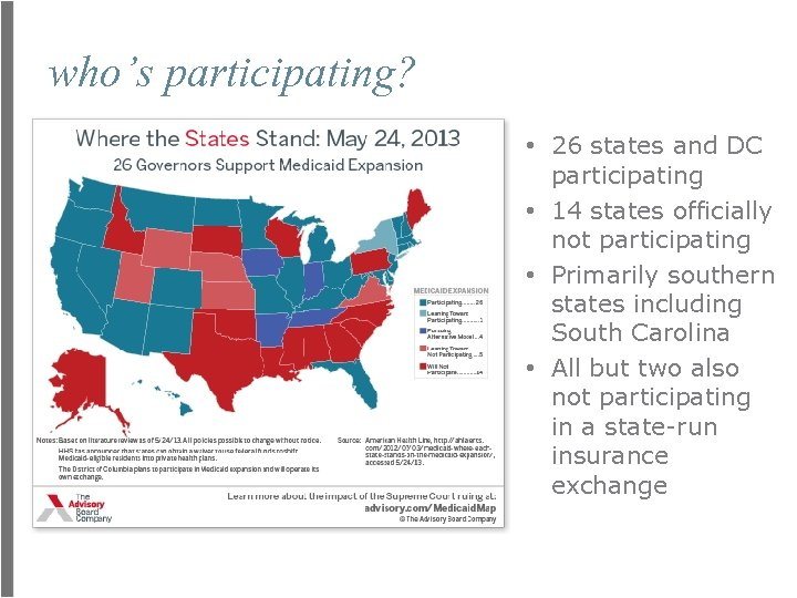 who's participating? • 26 states and DC participating • 14 states officially not participating