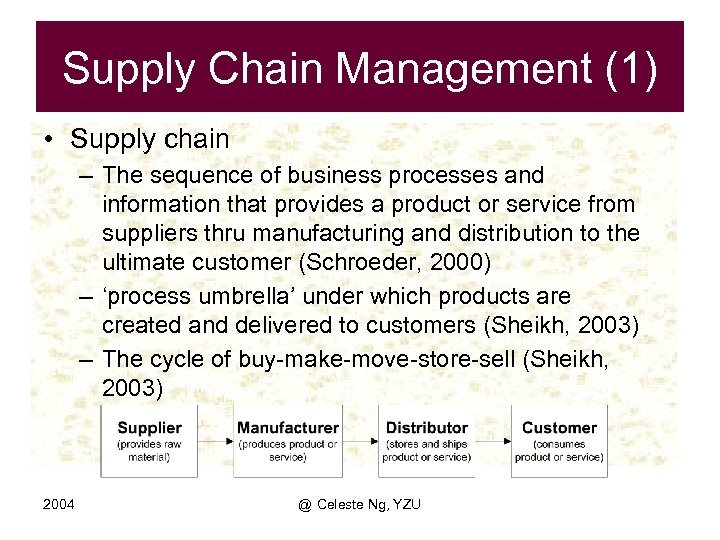 Supply Chain Management (1) • Supply chain – The sequence of business processes and