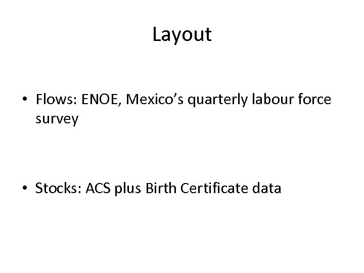 Layout • Flows: ENOE, Mexico's quarterly labour force survey • Stocks: ACS plus Birth
