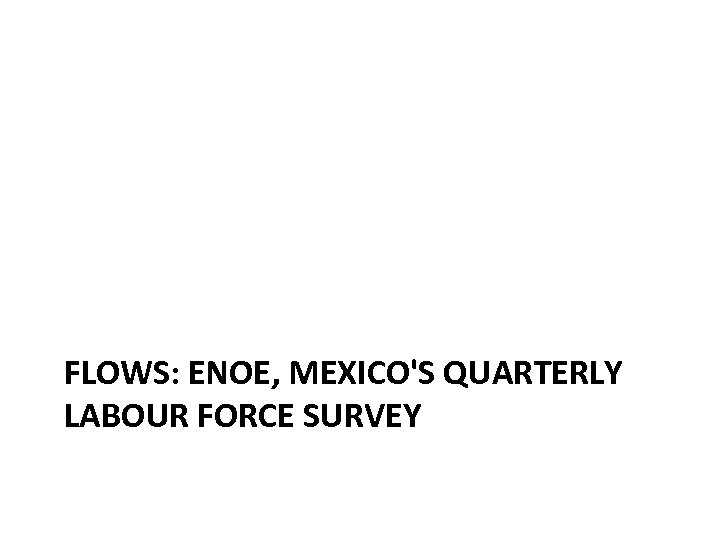 FLOWS: ENOE, MEXICO'S QUARTERLY LABOUR FORCE SURVEY