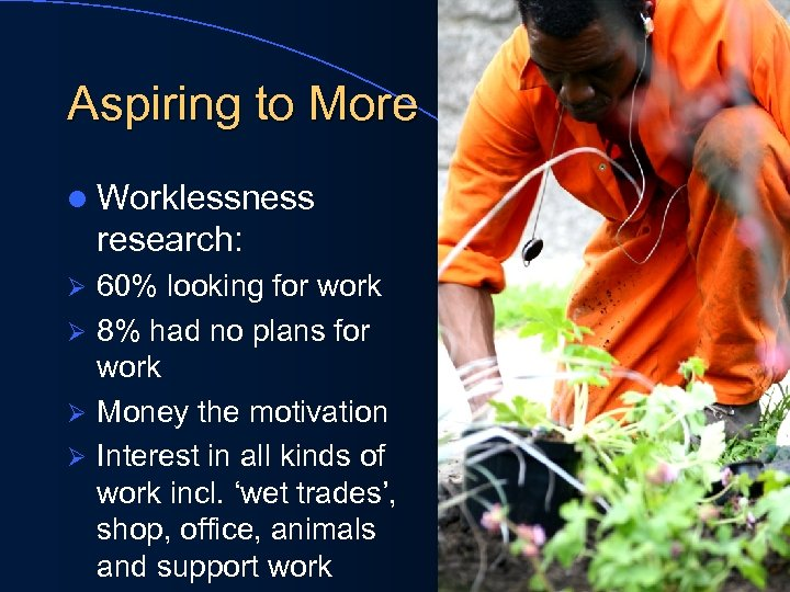 Aspiring to More l Worklessness research: 60% looking for work Ø 8% had no