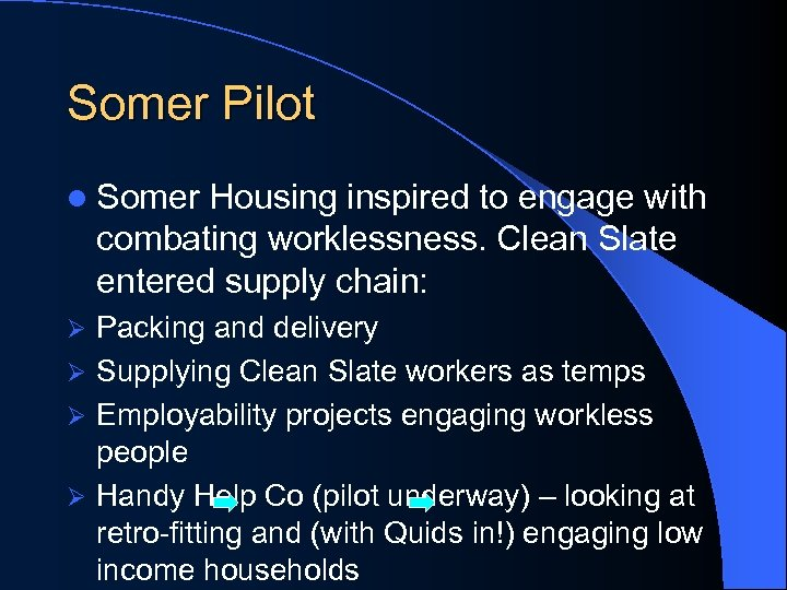 Somer Pilot l Somer Housing inspired to engage with combating worklessness. Clean Slate entered