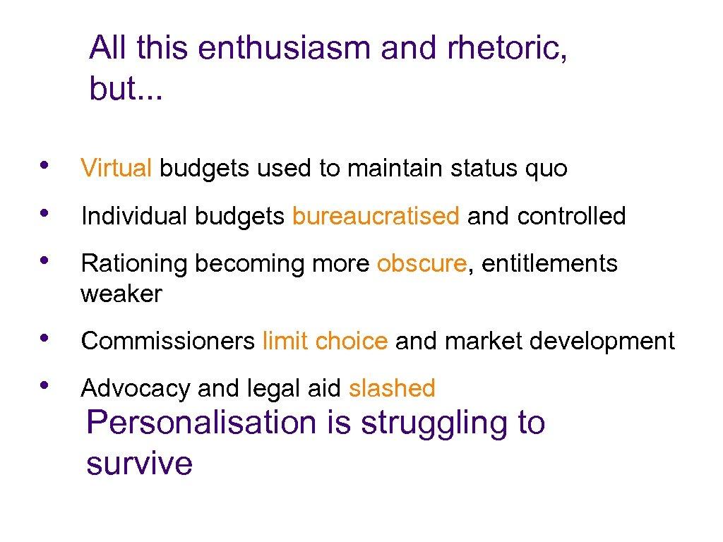 All this enthusiasm and rhetoric, but. . . • • • Virtual budgets used