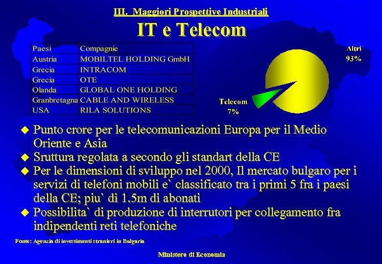III. Maggiori Prospettive Industriali IT e Telecom Punto crore per le telecomunicazioni Europa per