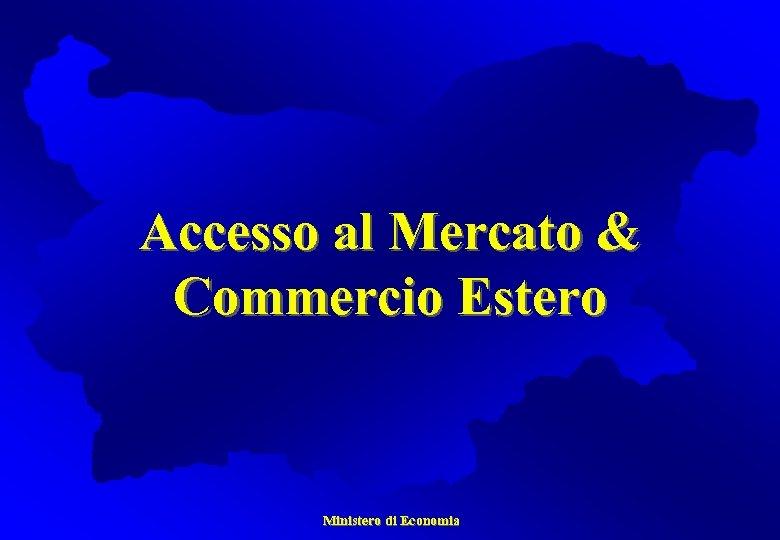 Accesso al Mercato & Commercio Estero Ministero di Economia