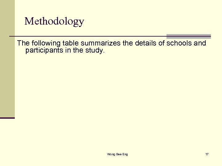 Methodology The following table summarizes the details of schools and participants in the study.