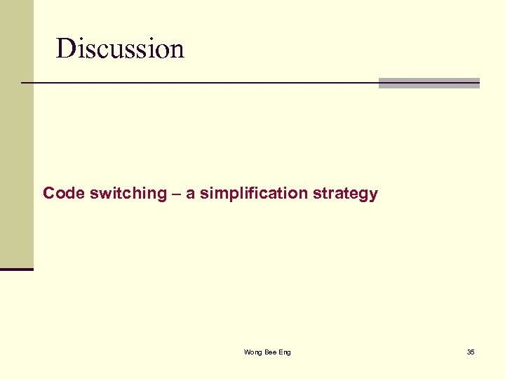 Discussion Code switching – a simplification strategy Wong Bee Eng 35