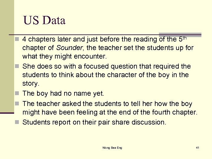 US Data n 4 chapters later and just before the reading of the 5