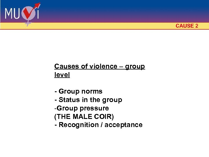 CAUSE 2 Causes of violence – group level - Group norms - Status in