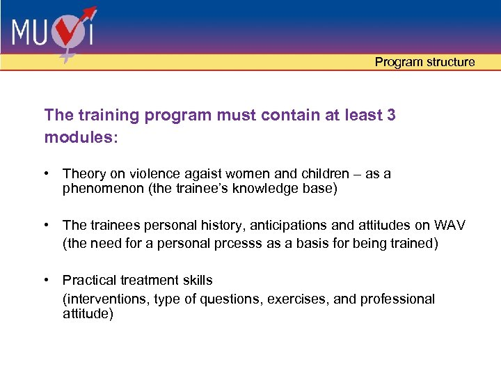 Program structure The training program must contain at least 3 modules: • Theory on