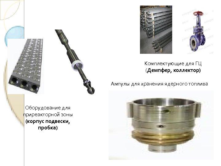 Комплектующие для ГЦ (Демпфер, коллектор) Ампулы для хранения ядерного топлива Оборудование для приреакторной зоны