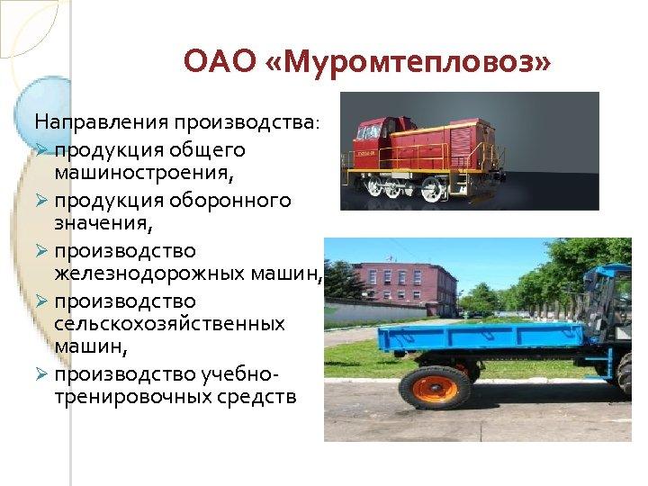 ОАО «Муромтепловоз» Направления производства: Ø продукция общего машиностроения, Ø продукция оборонного значения, Ø производство