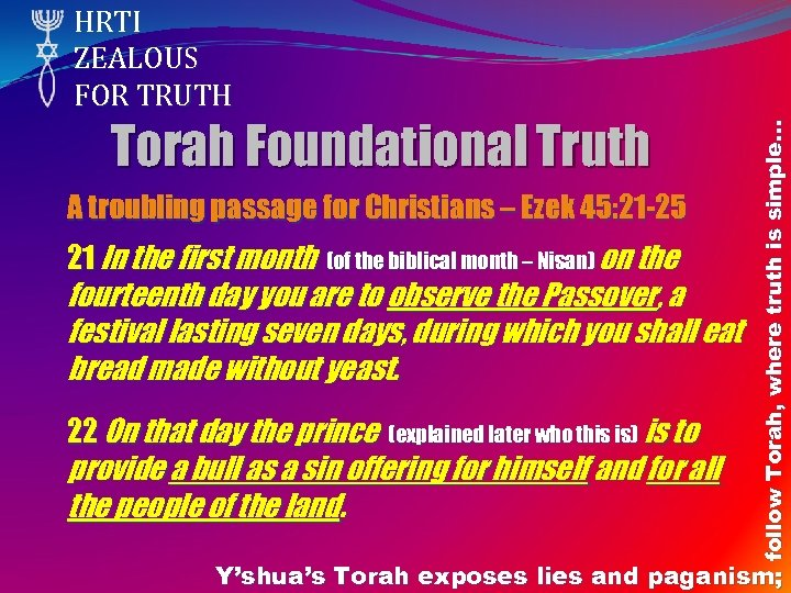 Torah Foundational Truth A troubling passage for Christians – Ezek 45: 21 -25 21