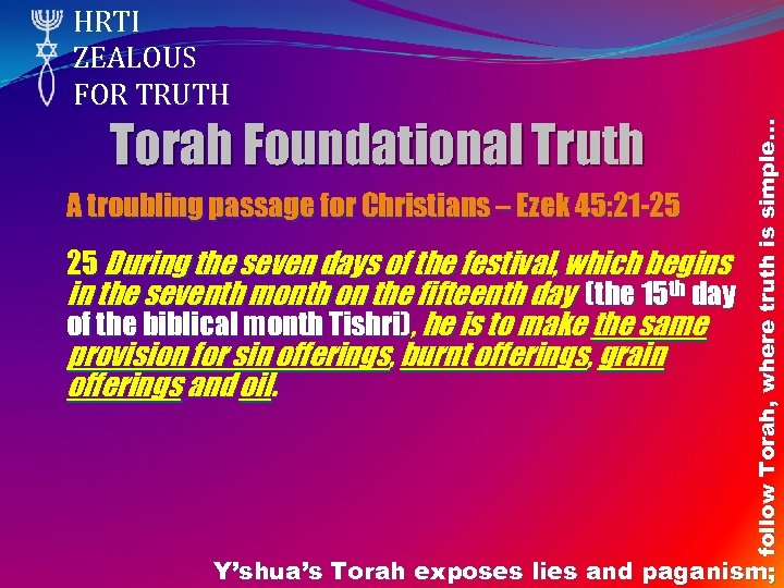 Torah Foundational Truth A troubling passage for Christians – Ezek 45: 21 -25 25