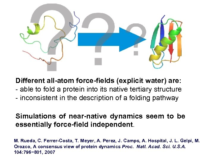 Different all-atom force-fields (explicit water) are: - able to fold a protein into its