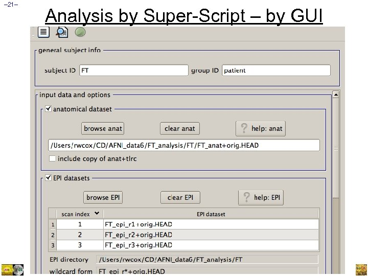 – 21– Analysis by Super-Script – by GUI