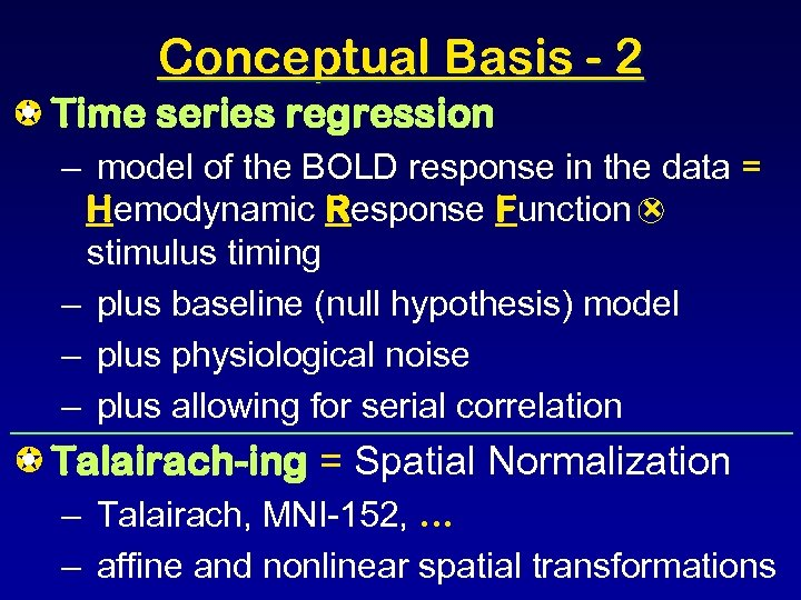 Conceptual Basis - 2 Time series regression • – model of the BOLD response