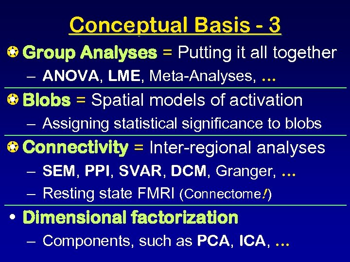 Conceptual Basis - 3 Group Analyses = Putting it all together • – ANOVA,
