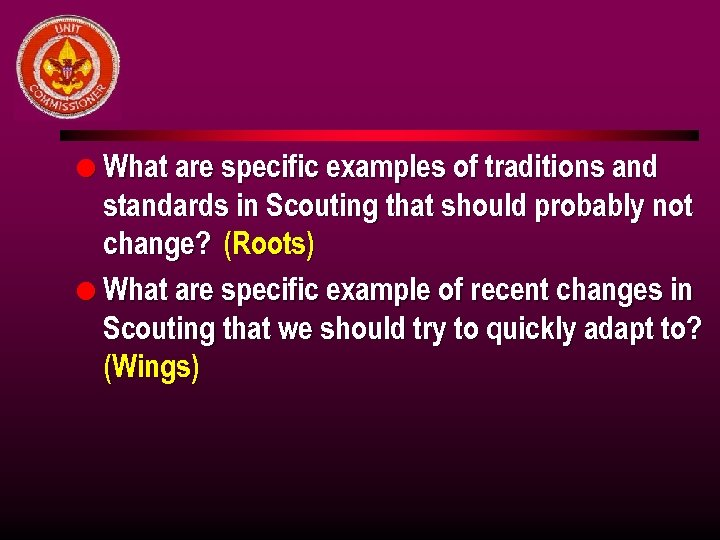 l What are specific examples of traditions and standards in Scouting that should probably