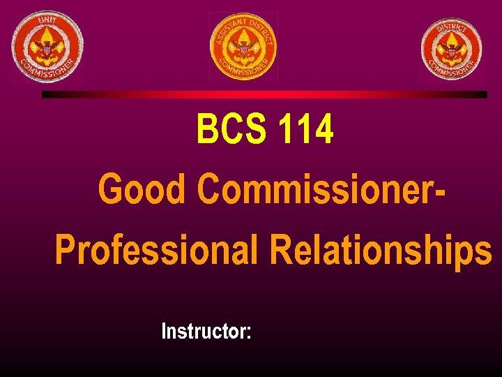 BCS 114 Good Commissioner. Professional Relationships Instructor: