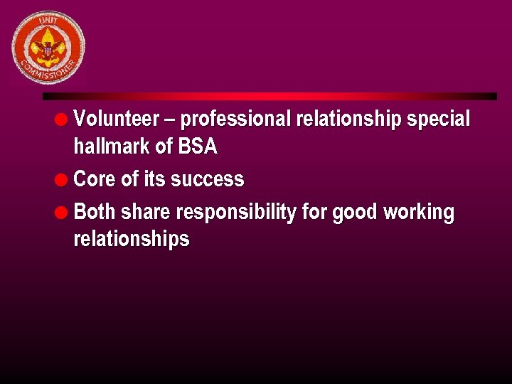 l Volunteer – professional relationship special hallmark of BSA l Core of its success