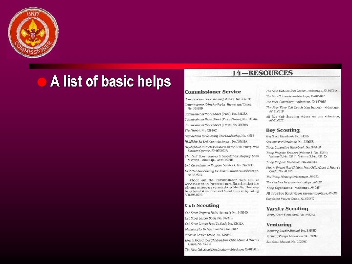 l A list of basic helps