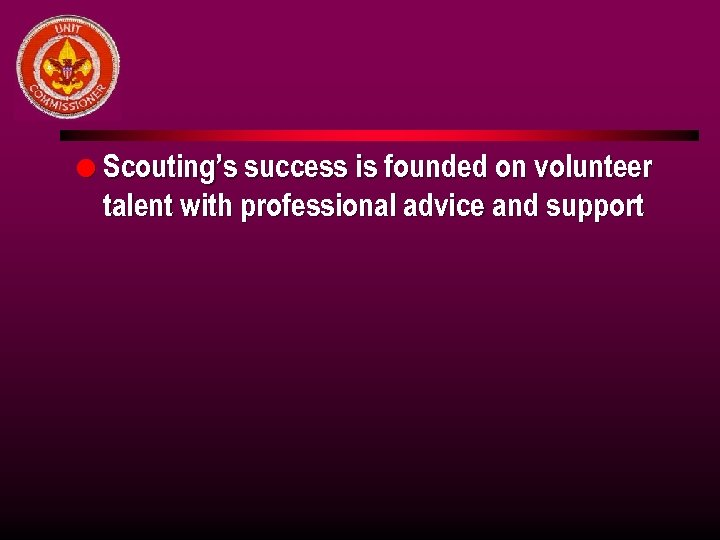 l Scouting's success is founded on volunteer talent with professional advice and support