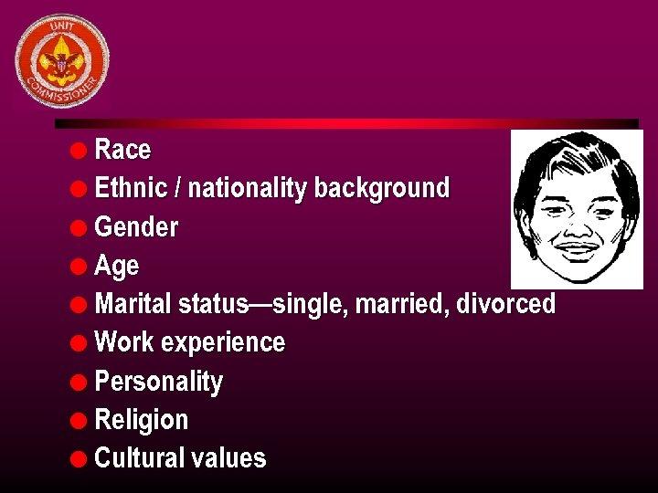 l Race l Ethnic / nationality background l Gender l Age l Marital status—single,