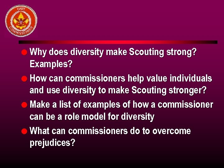 l Why does diversity make Scouting strong? Examples? l How can commissioners help value