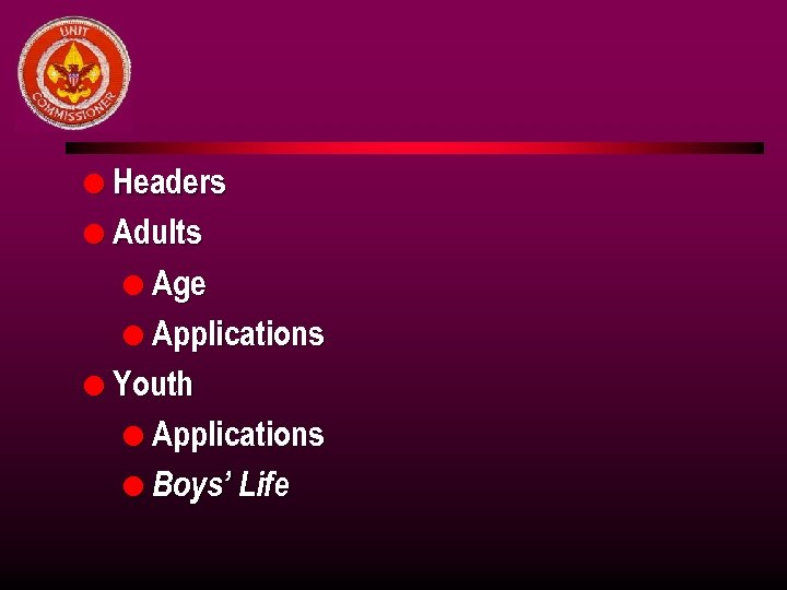 l Headers l Adults l Age l Applications l Youth l Applications l Boys'