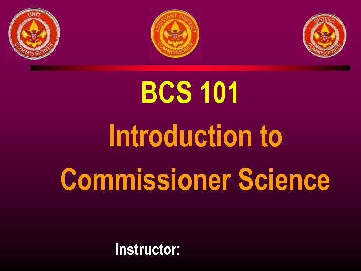 BCS 101 Introduction to Commissioner Science Instructor:
