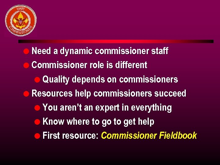 l Need a dynamic commissioner staff l Commissioner role is different l Quality depends