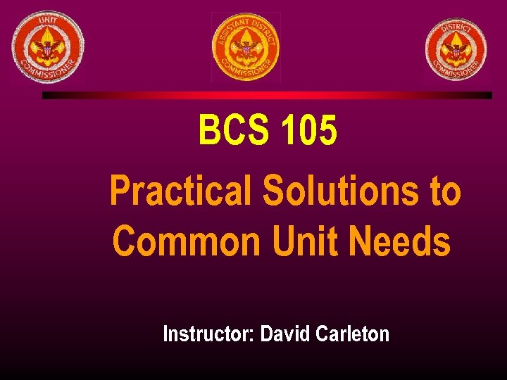 BCS 105 Practical Solutions to Common Unit Needs Instructor: David Carleton