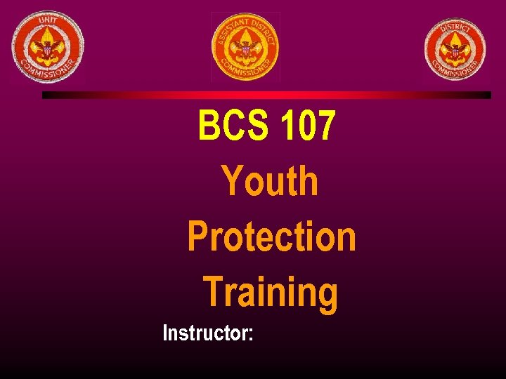 BCS 107 Youth Protection Training Instructor: