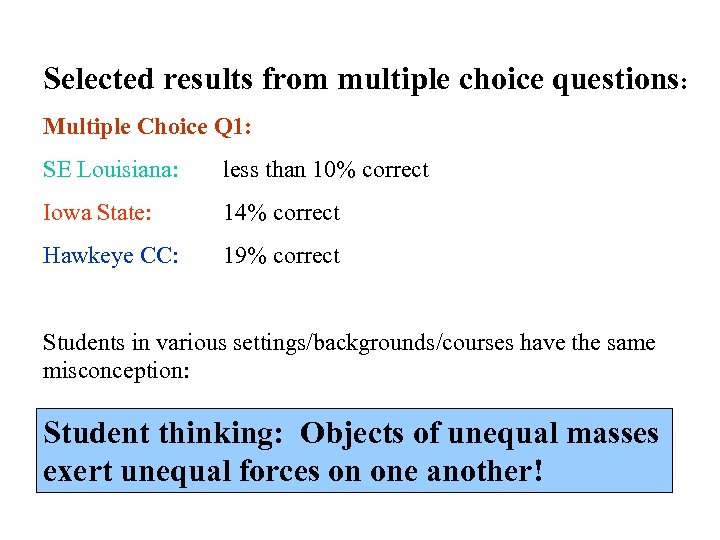 Selected results from multiple choice questions: Multiple Choice Q 1: SE Louisiana: less than