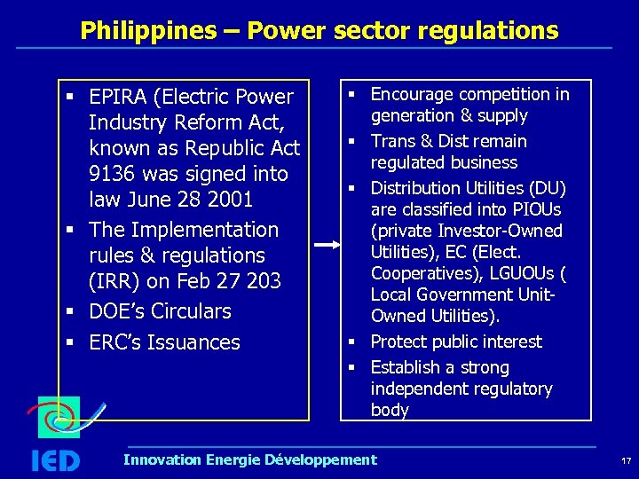 Philippines – Power sector regulations § EPIRA (Electric Power Industry Reform Act, known as