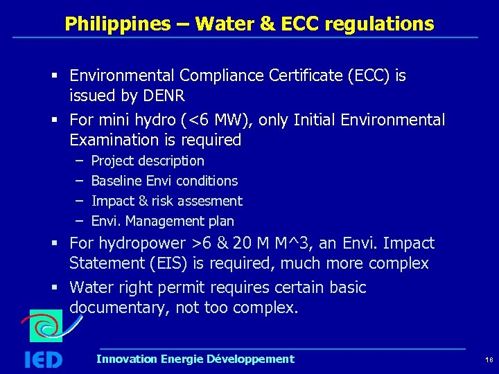 Philippines – Water & ECC regulations § Environmental Compliance Certificate (ECC) is issued by
